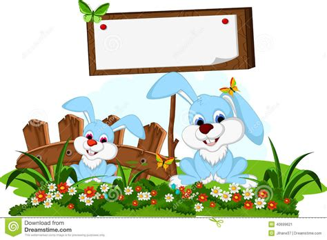 Cute Couple Rabbit Cartoon With Blank Board In Flower
