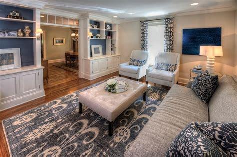 navy white living room traditional living room