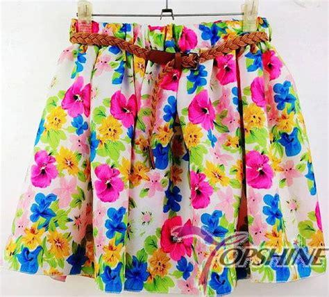 new 2017 summer chiffon skirts fashion floral skirt high waist saia pleated