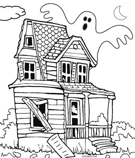 printable coloring pages of haunted houses printable haunted house coloring pages for kids cool2bkids