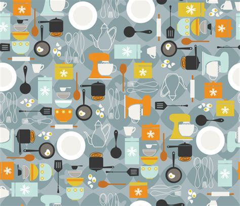 kitchen pattern background mod kitchen fabric cynthiafrenette spoonflower