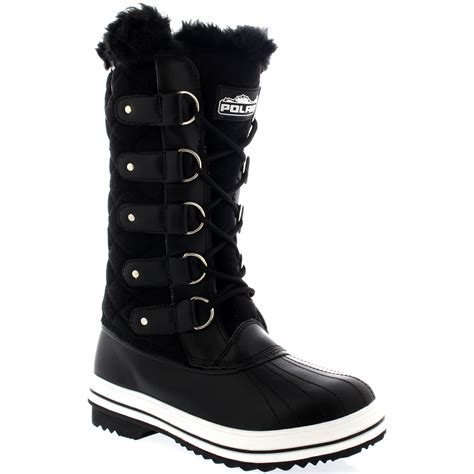 warm boots womens womens quilted lace up fur lined warm shoes duck