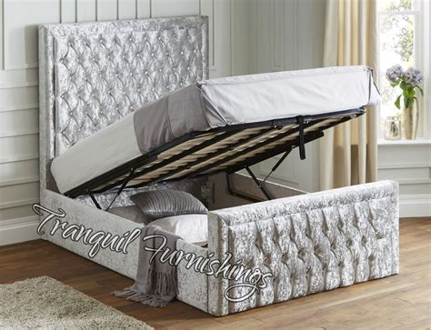 Ottoman Beds With Mattress Filo Storage End Opening Ottoman Bed Upholstered In Velvet King Size Bed Ebay
