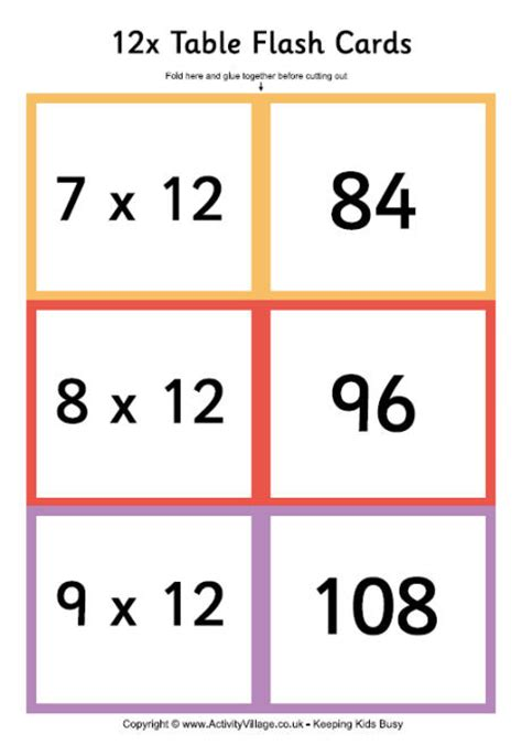 printable multiplication flash cards up to 15 12 times table folding flash cards 5 6 math