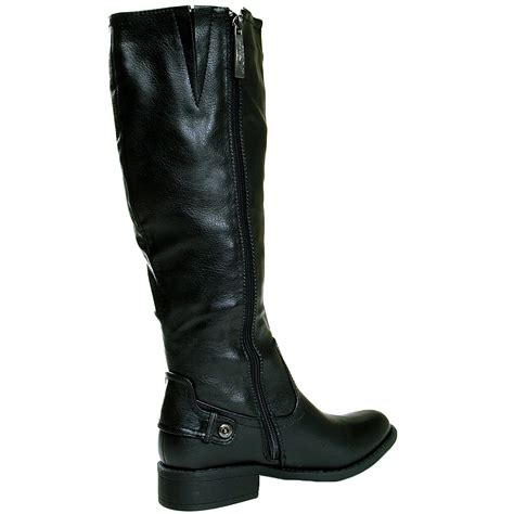 womens boots flat heel faux leather zippered mid calf