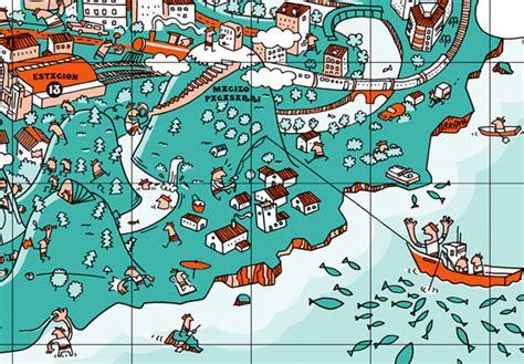 illustrative map  bilbao spainart  design