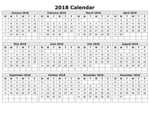 printable calendar year on one page yearly calendar 2018 printable activity shelter