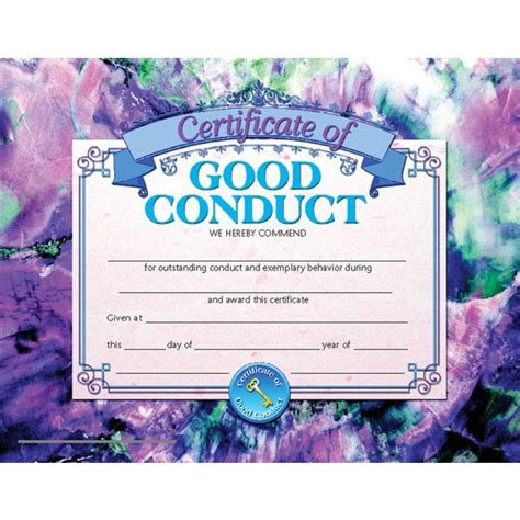 certificate of conduct template student certificate of conduct end of the year a