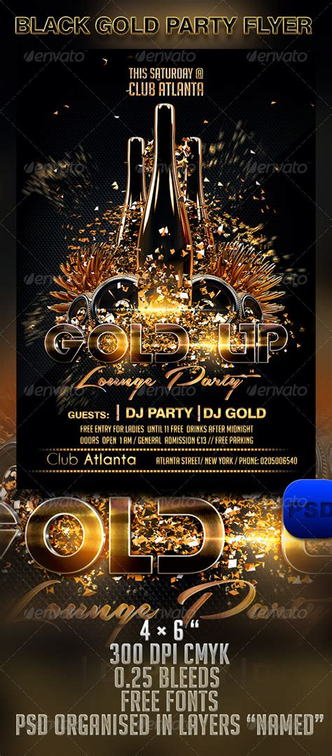 Black Gold Party Flyer Template Graphicriver Gold Flyer Template