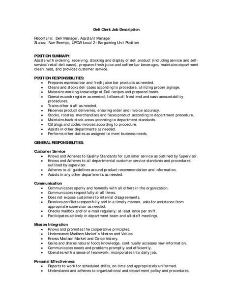 deli worker resume lovely store clerk job description administrative