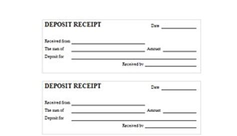 bank deposit receipt template template car deposit receipt sale sle pictures