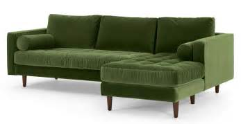 cotton velvet sofa 4 seater right facing chaise end sofa grass