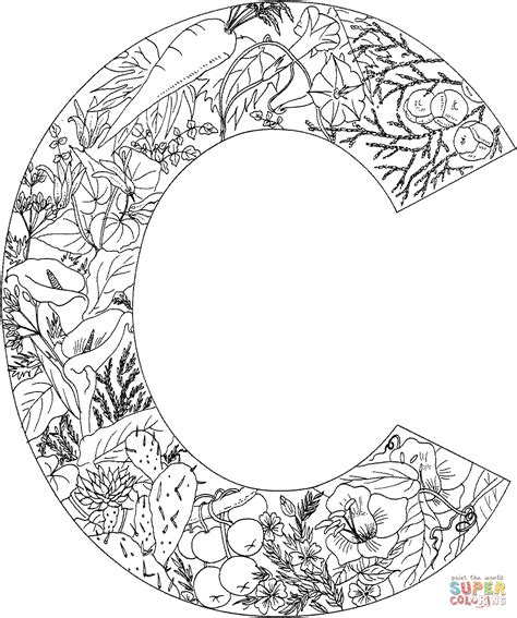 difficult pattern in c letter c with plants coloring page free printable
