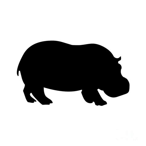 Hippo Black hippo in black and white digital by jackie farnsworth