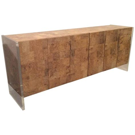Patchwork Wood Furniture - faux burl wood lucite credenza vintage sideboard buffet