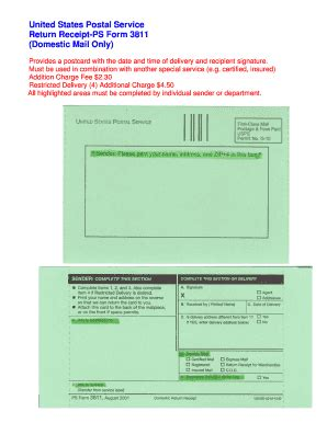 usps green card template form ps 3811 fill printable fillable blank