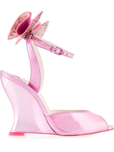 pink sandals with bow webster bow detail wedge sandals in pink lyst