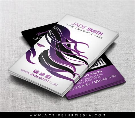 hair stylist business card templates purple hair stylist makeup business card template active