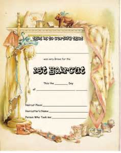 Pin babys first haircut certificate template on pinterest