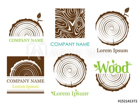 set  cross section   trunk  tree rings vector