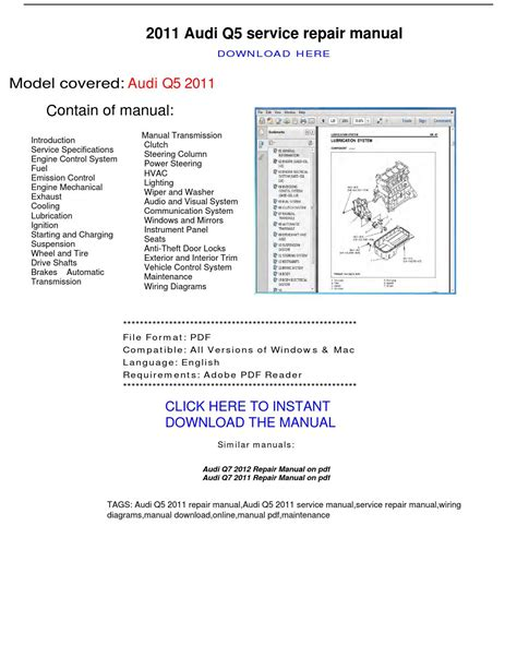 audi q5 2011 repair manual by repairmanualpdf issuu