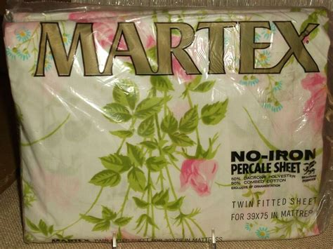 martex percale sheet twin fitted floral vintage no iron new in package ebay