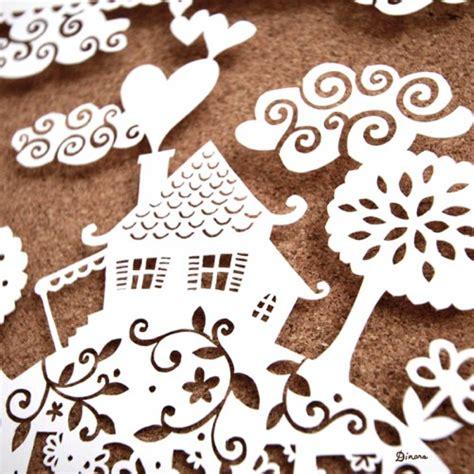 Paper Cutting Craft Tutorial - paper home sweet home papercut artwork make