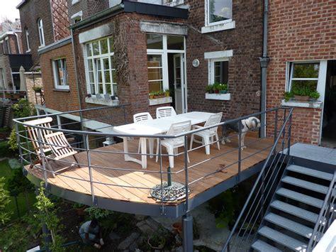 terrasse a terrasse sur pilotis esneux structure bois et m 233 tal