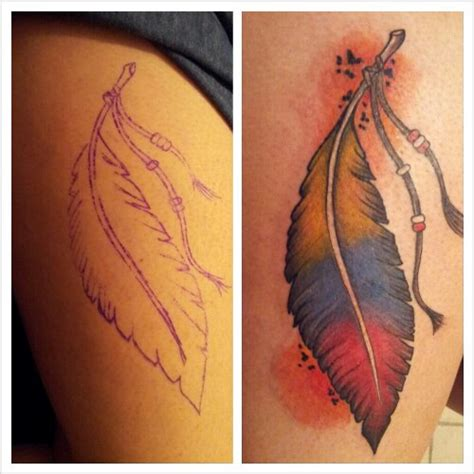 colombian feather tattoos by turkey