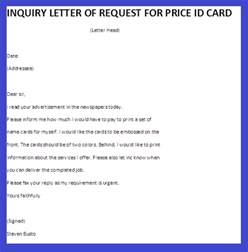 Business Letter Visit Request Inquiry Letter Of Request For Price Id Card Business