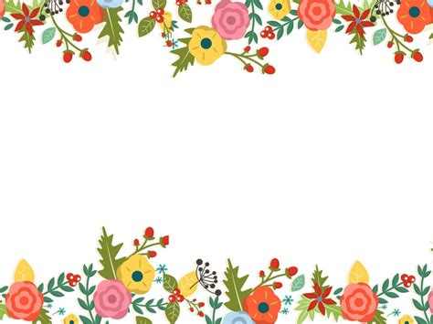 Cute Floral Powerpoint Templates Border Frames Flowers Green Orange Red Free Ppt Flower Powerpoint Templates