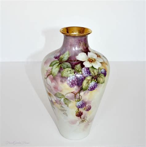 Porcelain Vase by Antique Limoges Painted Signed Porcelain Vase