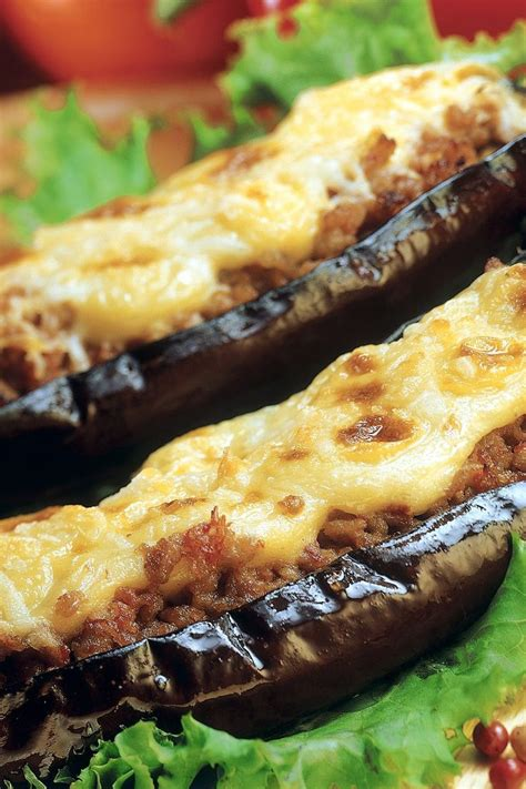 stuffed eggplant sausage stuffed eggplant recipe dishmaps
