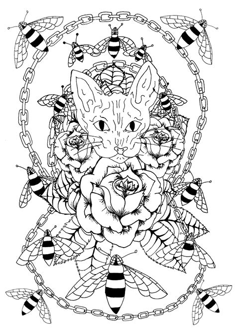 sphynx cat bees  metal chain tattoos adult coloring