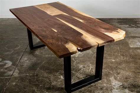 sustainable dining table live edge city trees furniture walnut and figured maple dining