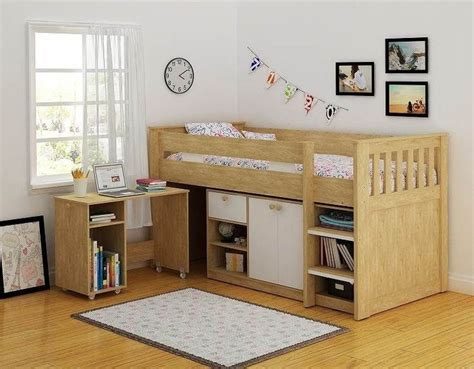 Ohio Mid Sleeper Bed by Merlin Study Bunk Various Colours Mid Sleeper Desk Storage