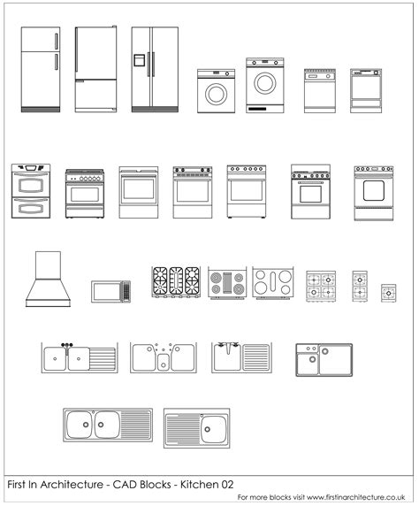 Free Cad Blocks Kitchen Appliances 02 First In Architecture Kitchen Appliances Templates