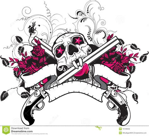 skull guns roses t shirt design stock vector