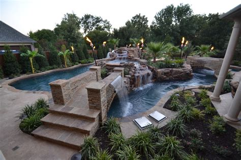 large backyard lazy river pool with