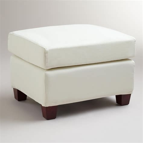 slipcovers for ottomans ivory luxe ottoman slipcover world market