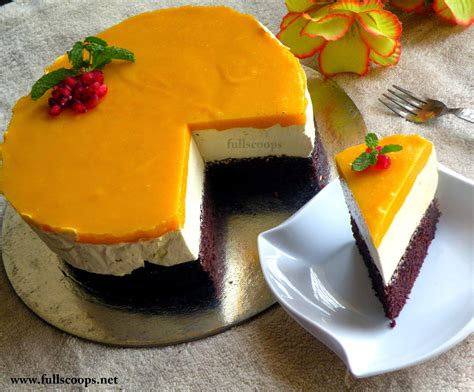 eggless mango mousse cake full scoops