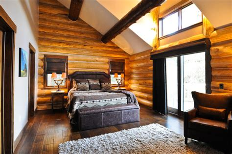 mountain homes interiors rustic log cabin rustic bedroom denver by mountain