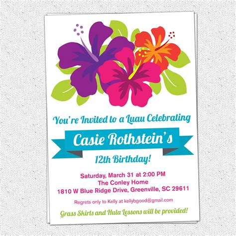 printable luau birthday invitation summer hibiscus