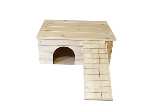Large Guinea Pig House With Ladder And Platform Roof