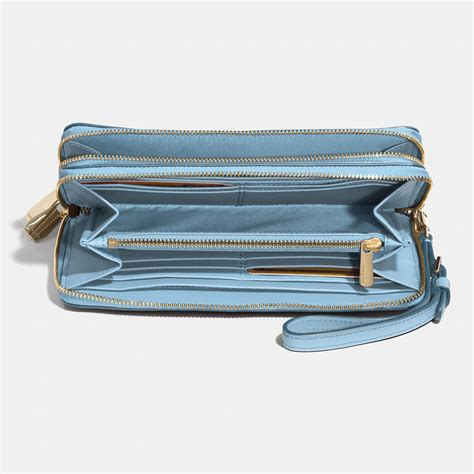 light blue coach wallet coach madison double accordion zip wallet in leather in