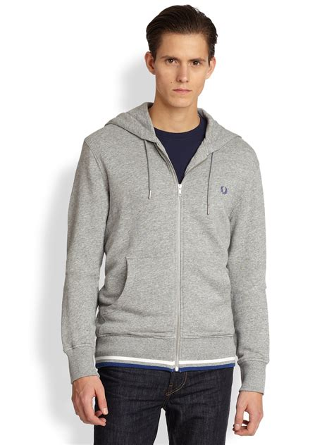 Hoodie Sidemen Grey Ken21 1 lyst fred perry tipped cotton hoodie in gray for