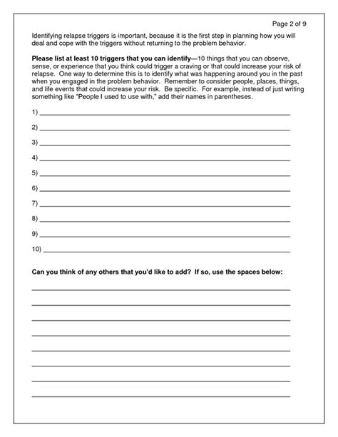 relapse prevention plan doc aod activity ideas