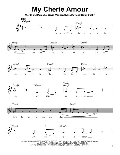 My Cherie Amour sheet music by Stevie Wonder (Voice – 194198)