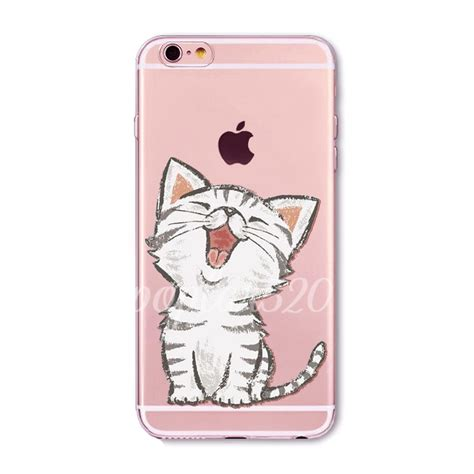 Iphone 5 5s Se Soft Jelly Meow Cat Casing Cover Bumper Lucu meow cat pattern soft clear tpu cover for iphone
