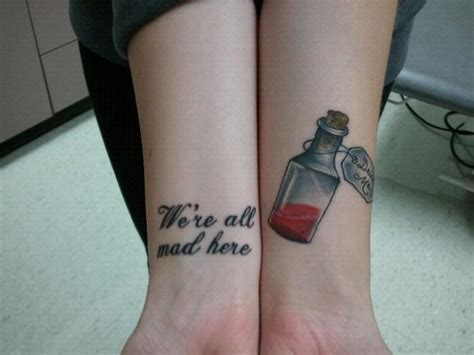 alice in wonderland wrist tattoos quot where all mad here quot wrist wrist tattoos